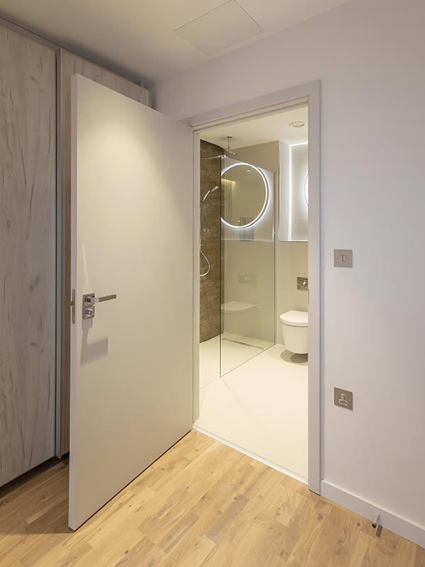 Painted doors supplied by Doorview Ltd to Onyx Apartments, Kings Cross